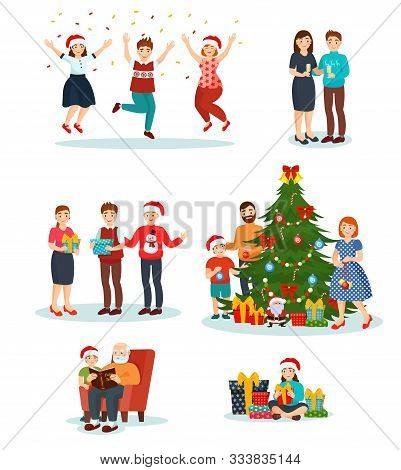 Christmas Vector People In Santa Hats Celebrating Merry Xmas, Family Decorate New Year Tree Together