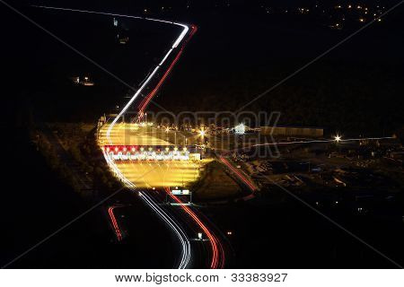 Straight night highway