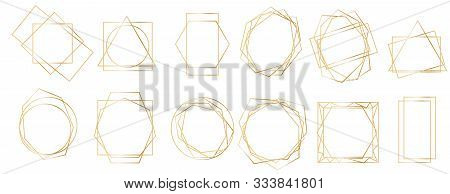 Golden Geometric Frames. Geometrical Polyhedron, Art Deco Style For Wedding Invitation, Luxury Templ