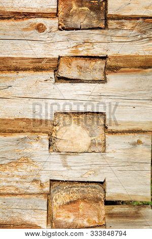 Wooden Log Wall Environmentally Friendly House. Wooden Blockhouse Texture Background.