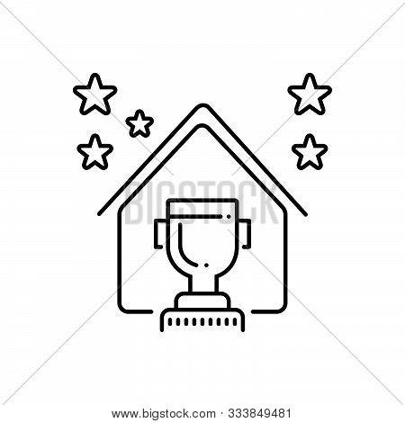 Black Line Icon For  Real Estate Award Real-estate-award  Prize Regalia Property