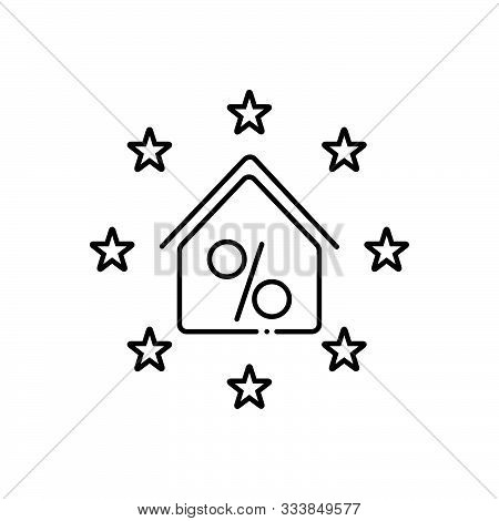 Black Line Icon For  Real-estate-discount Real Estate Discount Exemption Concession Property