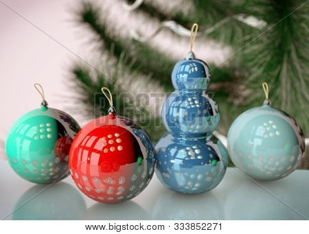 3d Illustration Of Christmas Tree Toy With Snow Flakes And Snowman Design Close Up