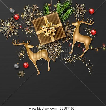 Christmas And New Year Banner. Christmas Background With Realistic Golden Deer Statuette, Festive De