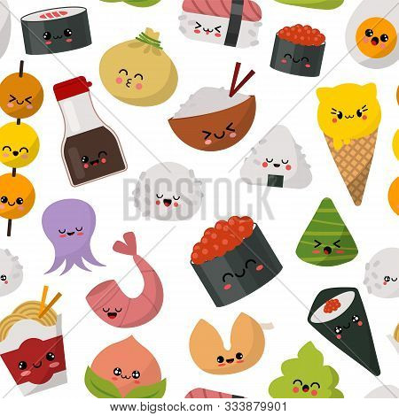 Sushi Japanese Food Pattern Vector Illustration. Traditional Cuisine Of Japan Menu. Sushi, Rolls, Ri