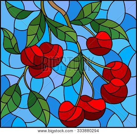 Illustration In The Style Of A Stained Glass Window With The Branches Of Cherry  Tree , The  Branche