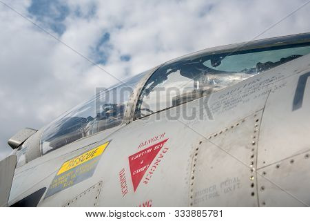 Athens Greece, September 21 2019: Details Of A Greek Mirage  Fighter Plane Landed On The Military Ai
