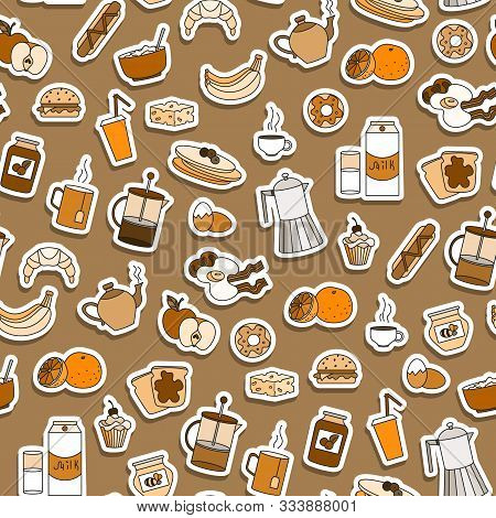Seamless Pattern On Breakfast And Food Theme, Simple Sticker Icons On A Brown Background, Sepia