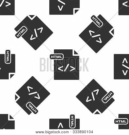 Grey Html File Document. Download Html Button Icon Isolated Seamless Pattern On White Background. Ht