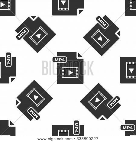 Grey Mp4 File Document. Download Mp4 Button Icon Isolated Seamless Pattern On White Background. Mp4