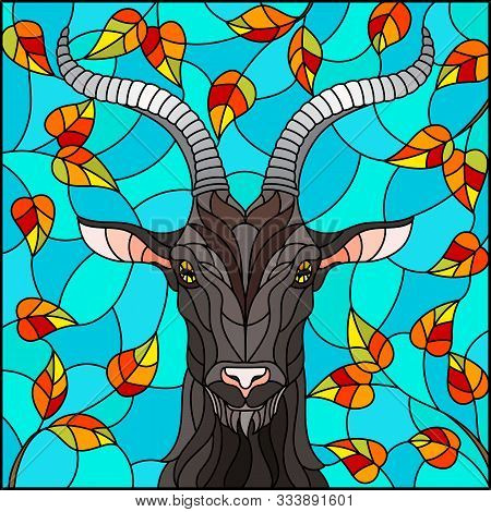 Illustration In Stained Glass Style With Goat Head,on The Background Of Autumn Tree Branches And The