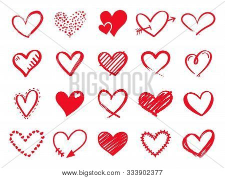 Hand Drawn Scribble Hearts. Painted Heart Shaped Elements For Valentines Day Greeting Card. Doodle R