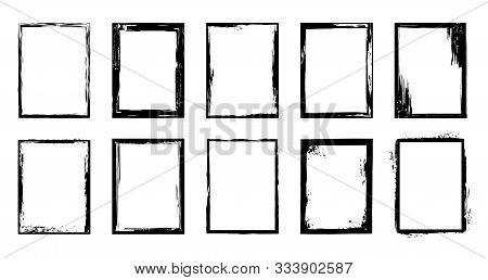 Grunge Frames. Ink Brush Stroke Border, Artistic Brush Blots And Black Paint Frame Design Vector Iso