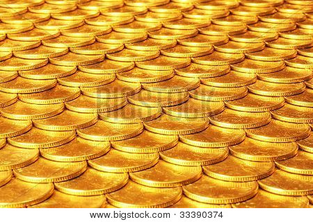 Set Of Coins From Yellow Metal