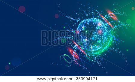 Global Satellite Internet Technology Background. Earth In Space Enmeshed Network Line Of Data Flow.