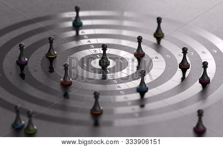 3d Illustration Of A Target With Pawns Over Black Background. Commercial Challenge, Incentive And Sa