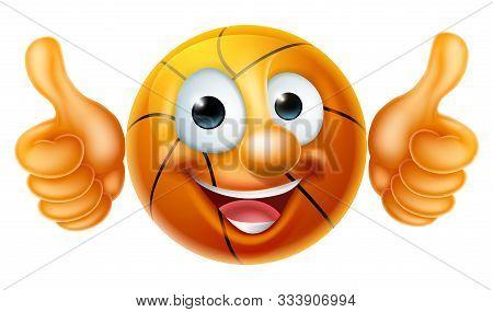 A Happy Cartoon Basketball Ball Man Mascot Character Doing A Double Thumbs Up