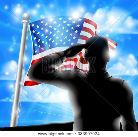 American Flag Waving In The Wind With A Silhouette Soldier, Design For Memorial Day Or Veterans Day