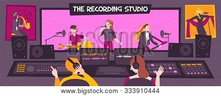 Colored And Flat Recording Studio Composition With The Recording Studio Description Group Sings Song