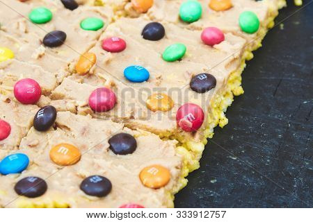 Multi-colored M&ms On A Slice Of Homemade Flapjack With Icing, May 12th 2019