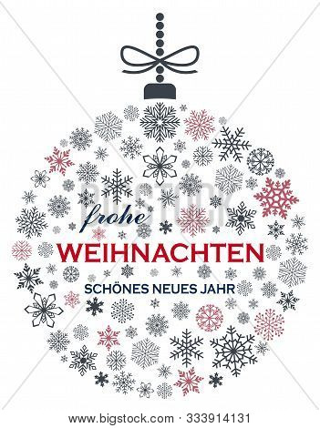 Christmas Bauble Vector. Snowflakes, Hanger And German Christmas Greetings On White Background. Tran