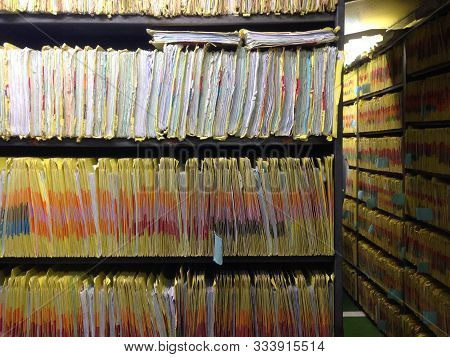 Document Control Room For Important Documents. Medical Records Room For Storage Data Patients In Hos