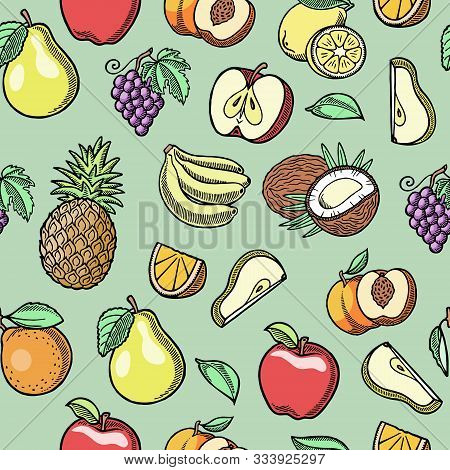 Sketch Tropical Fruits Vector Seamless Pattern. Ink Pen Orange Slices, Pears, Grapes And Bananas, Pe