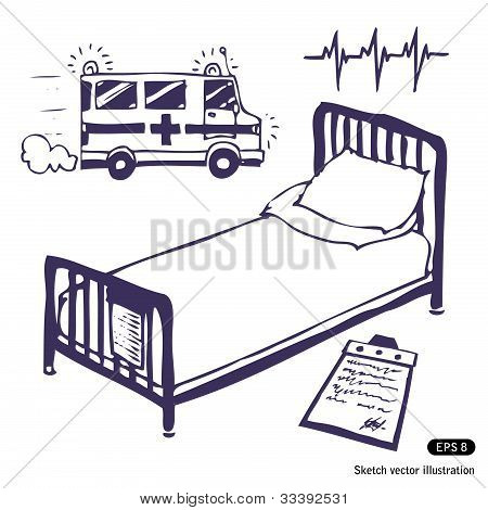 Hospital bed and ambulance