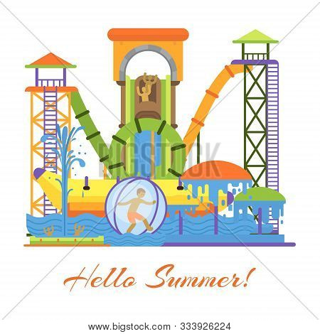 Water Park And Swimming Attraction For Kids Kids Vector Illustration With Hello Summer. Aquapark Wit