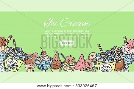 Ice Cream Assortment Hand Drawn Doodles Vector Illustration. Sweet Frozen Desserts. Sketches Of Ice