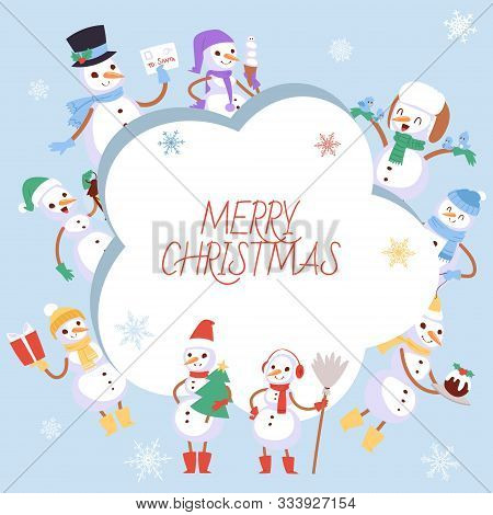 Winter Holidays Snowman Vector Illustration. Cheerful Snowmen In Different Costumes. Snowmen In Earp