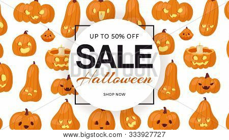 Holiday Halloween Sale With Pumpkins Heads Pattern, Vector Banner. Discount Pumpkin-head Illustratio