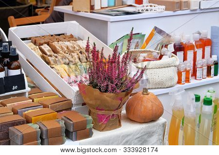 Cosmetics With Organic Natural Ingredients Sold At The Fair. Handmade Natural Cosmetics. Variety Of