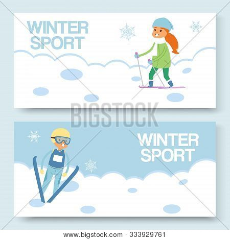 Skiing And Winters Sports Vector Banners Set. Cartoon Illustration Of Skier Girl On Snowy Hill And S
