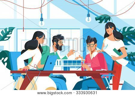 Team Working In Office Vector Illustration. Young Men And Women Sitting At Table And Creating New Pr