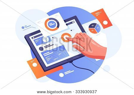 Modern Tablet With Infographics Vector Illustration. Persons Hand Creating On Gadget Presentation Wi