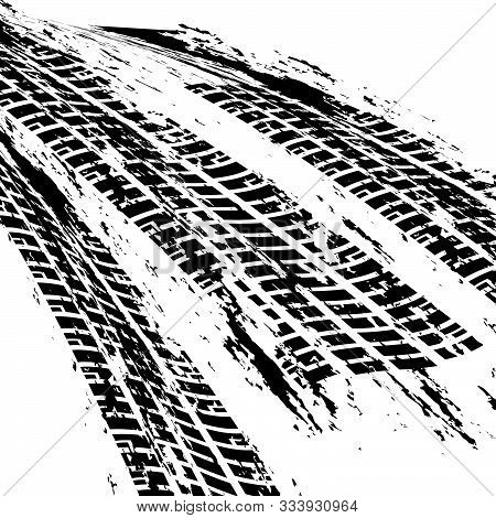 Brown Tire Marks Pattern On White Background With Clipping Path Vector Illustration