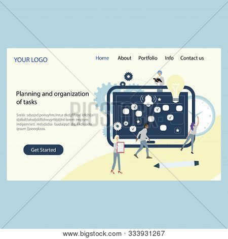 Planning And Organization Tasks Landing Page Company. Vector Plan Timetable, Task Deadline, Month Ba