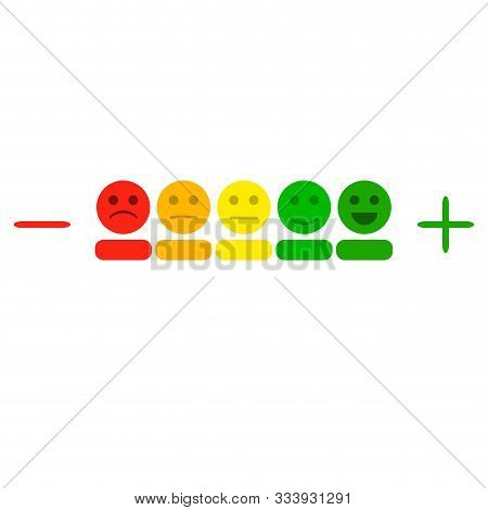 Plus And Minus Indicator With Colored Smileys. Illustration Rating Level Measurement, Smile Measure