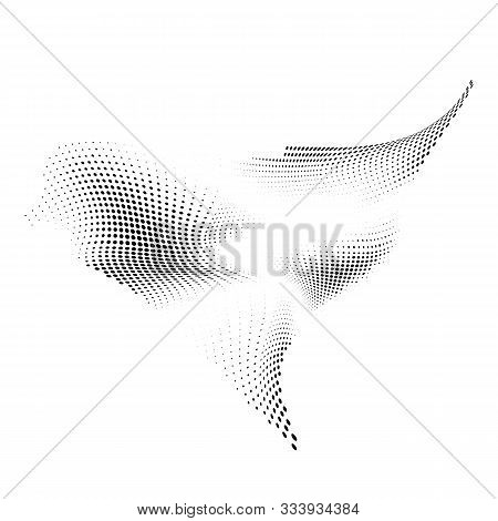 Halftone Design Element Motion Effect. Abstract Halftone Background With Dynamic Waves. Warp Dots Tr