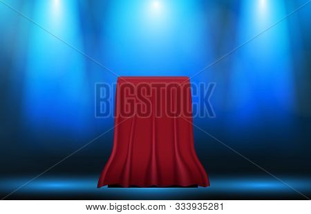 Abstract Background Of Box With Red Cloth Fabric, Surprise Master Piece Concept