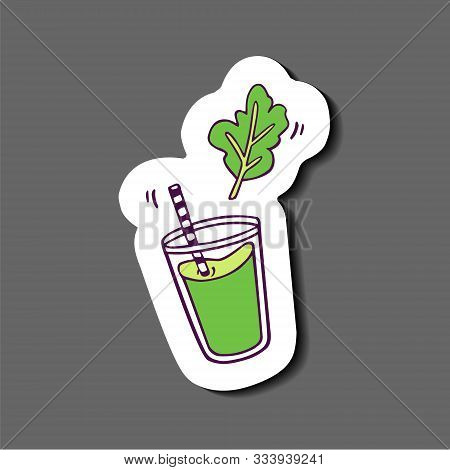 Sticker - Glass Of Green Juice Or Smoothie With Plant Leaf. Hand-drawn In Cartoon Style,  Colored Ar