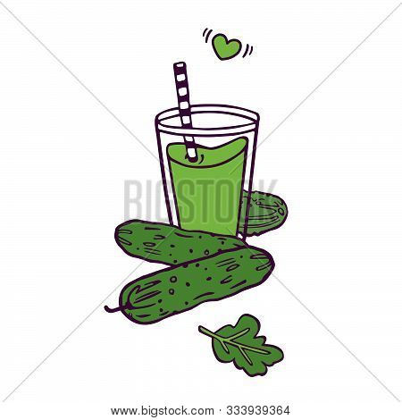 Cucumber Fresh Smoothie Or Juice In Cartoon Style. Hand-drawn. Colored Artwork Islolated On White Ba