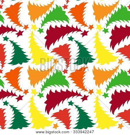 Seamless Multilayer Pattern Of Different Colored New Year And Christmas Trees, Wallpaper, Background