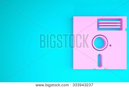 Pink Floppy Disk In The 5.25-inch Icon Isolated On Blue Background. Floppy Disk For Computer Data St