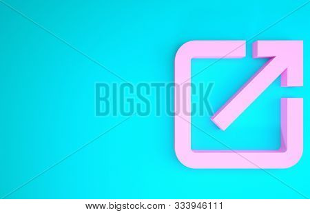 Pink Open In New Window Icon Isolated On Blue Background. Open Another Tab Button Sign. Browser Fram