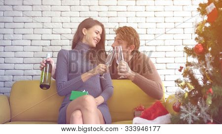 White Couple Celebrate Surprise Gift And Wine On Chirstmas Day