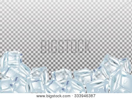 Ice Cubes, Realistic Set. Blue Collection Of Ice Isolated On Transparent Background.