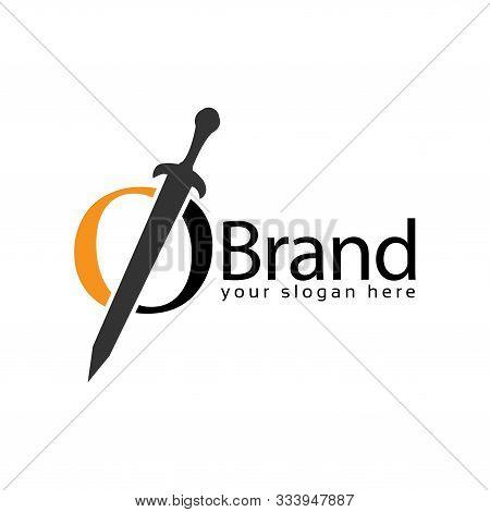 Sword Letter O Logo. Vector Illustration On White Background