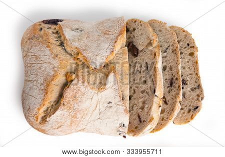 Bread, Ciabatta With Dried Tomatoes, Isolated On White Background
